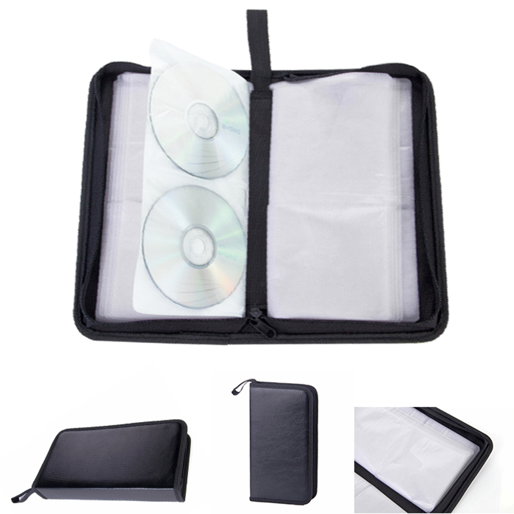 80 Sleeve DVD Scratch Resistant Multifunctional CD Bag Storage Tool Artificial Leather Large Capacity Carry Case Car Rectangle