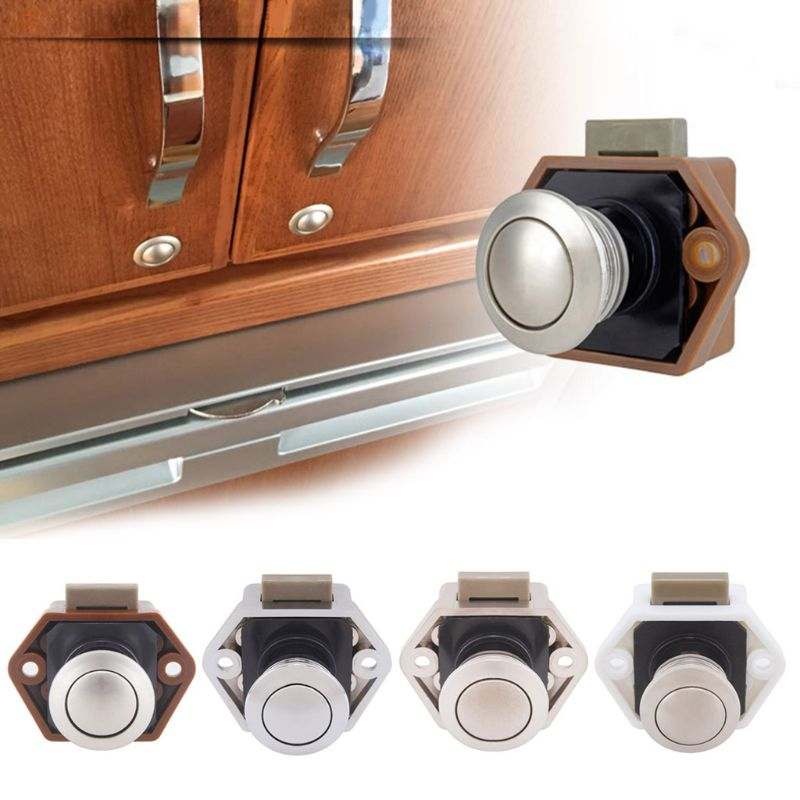 1 Pc Diameter 20mm Camper Car Push Lock RV Caravan Boat Drawer Latch Button Locks For Furniture Hardware Accessories 4 Colors