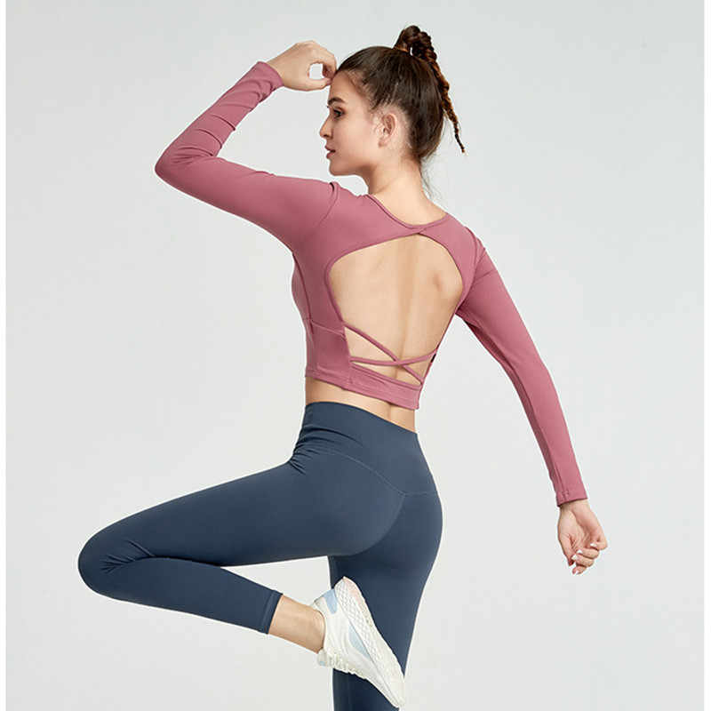 Verwijderbare Borst Pads Yoga Tops Backless Gym Lange Mouwen Crop Top Vrouwen Slim Fit Plain Workout Sport Shirts