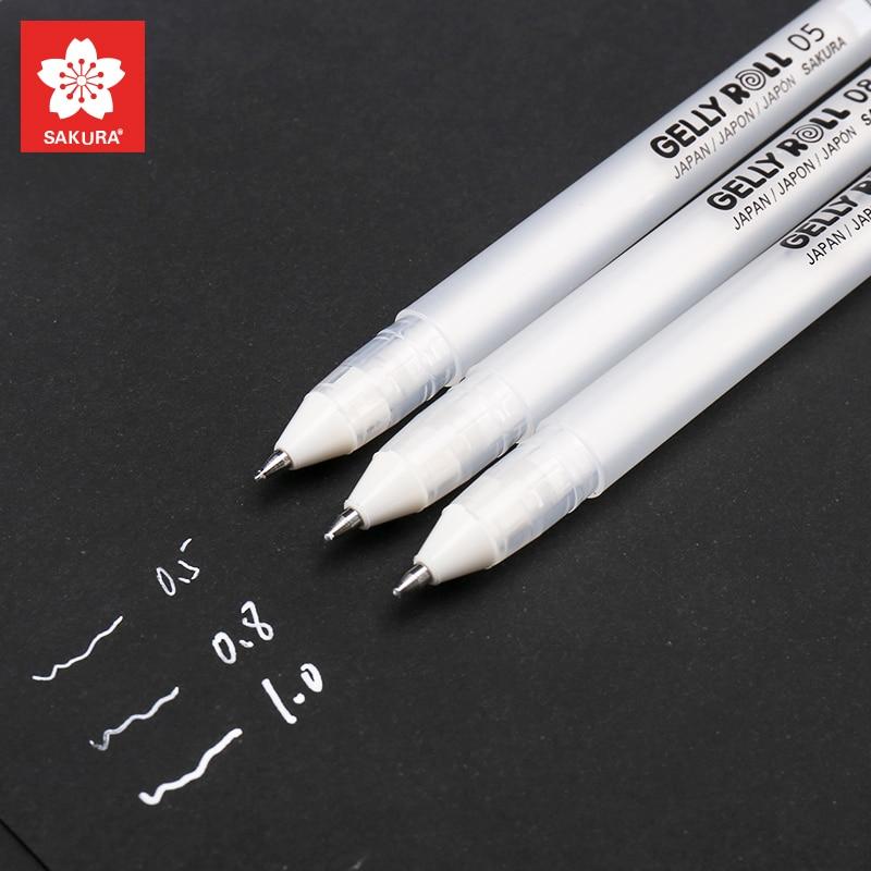 Sakura-bolígrafos de tinta de Gel Gelly Roll, pluma para resaltar, pluma para resaltar, lápiz blanca brillante, colores, 3 uds.