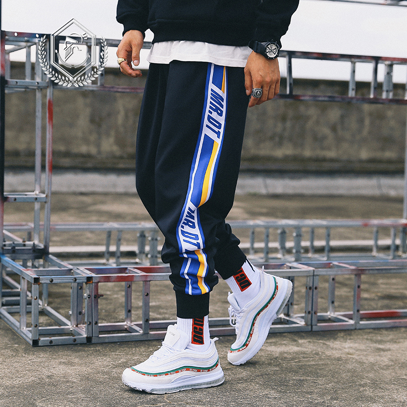 Men Loose Stripe Sport Pants Fashion Harem Jogger Pants Fashion Ankle-Length Hip Hop Pants