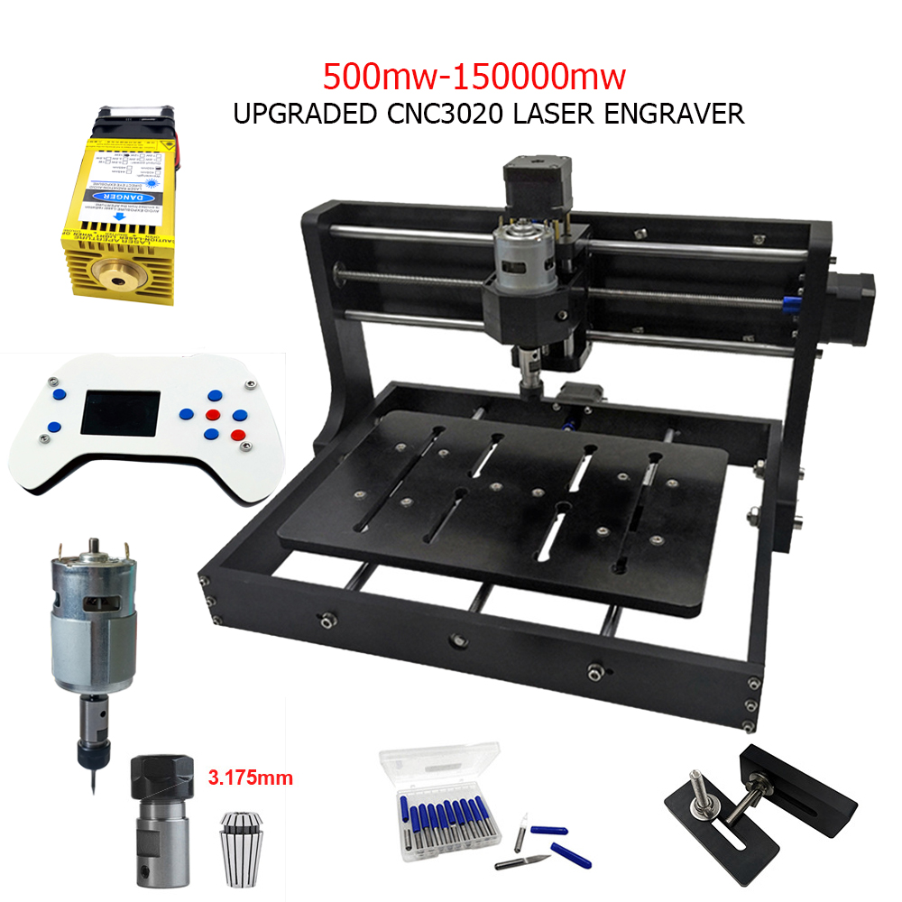 Upgraded CNC3020 Laser Engraving Machine 3Axis Milling Wood Cut Router DIY Laser Engraver Support Offline Control 0.5W-15W Power