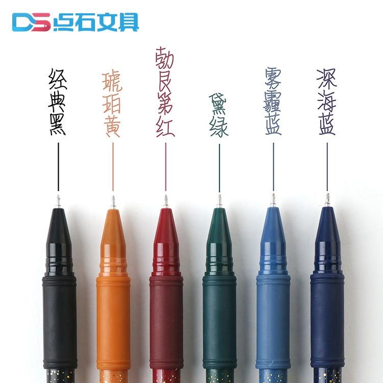 6 Pcs/pack Retro Color Quick Drying Gel Pen Signature Pen Escolar Papelaria School Office Supply Promotional Gift