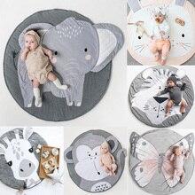 Tapete infantil macio para engatinhar, tapete redondo e macio para cama de bebê, cobertor, jogo de algodão, brinquedos para o berçário do quarto de crianças decoração