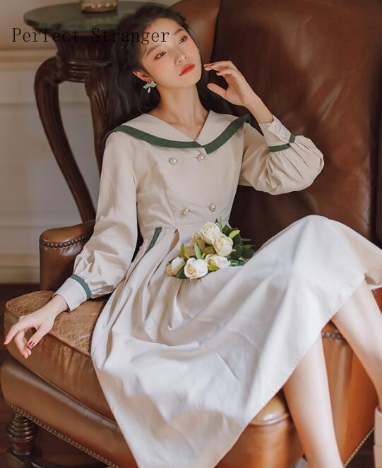 2020 Spring Autumn New Arrival Retro Hot Sale Peter Pan Collar Navy Style Long Sleeve Woman Long Dress