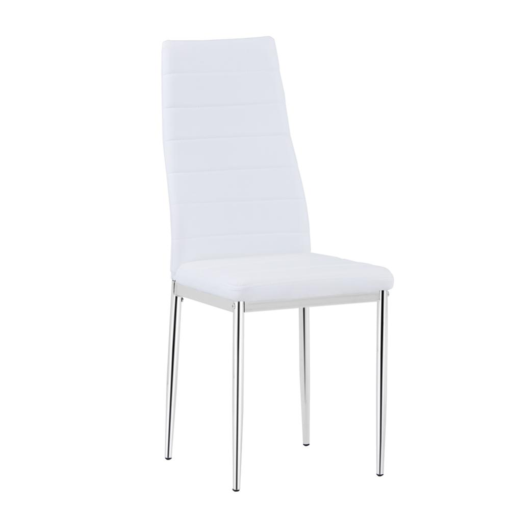 Goldfan White High Back Modern Artificial Leather Dining Chair, Used For Kitchen And Living Room Office Furniture