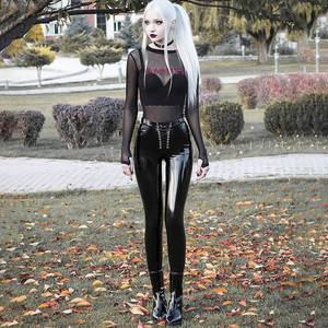 JIEZuoFang женские сексуальные панковские обтягивающие штаны из искусственной кожи, блестящие штаны, женские облегающие штаны на шнуровке с выс...