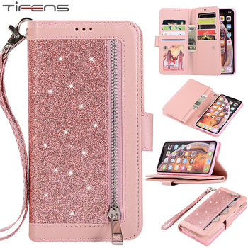 Luxury Leather Wallet For iPhone 12 Mini 11 Pro MAX Flip Bling Case For iPhone X XS MAX XR 6 6s 7 8 Plus Zipper Card Slots Cover