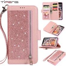 Luxus Leder Brieftasche Für iPhone 12 Mini 11 Pro MAX Flip Bling Fall Für iPhone X XS MAX XR 6 6s 7 8 Plus Zipper Card Slots Abdeckung