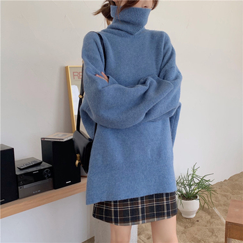 Ailegogo Autumn Winter Women Turtleneck Long Sweater Casual Female Knitted Loose Fit Pullovers Thick Warm Knitwear Ladies Tops 4