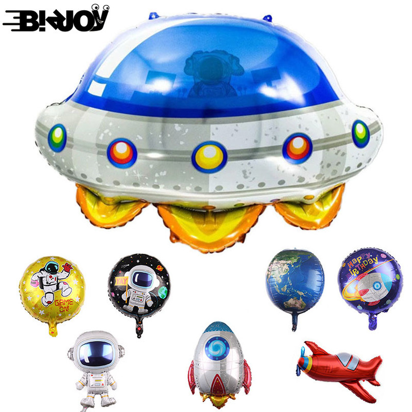 The New Outer Space Spaceship Astronaut Balloons Rocket Galaxy Foil Balloons Theme Party Boy Kids Birthday Party Decor