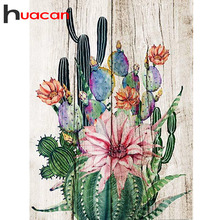 Huacan DIY Diamond Painting Square Flower Home Decoration Accessories Plant Embroidery Full Display