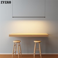 Restaurant Kitchen Pendant Lights Nordic Simple Modern Long Strip Pendant Lamp Dining Room Table Bar Office Indoor LED Hanglamp