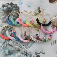 Oorbellen Multicolor clay earrings For women beautiful fashion hoop new jewelry 2019 Accessories wholesale