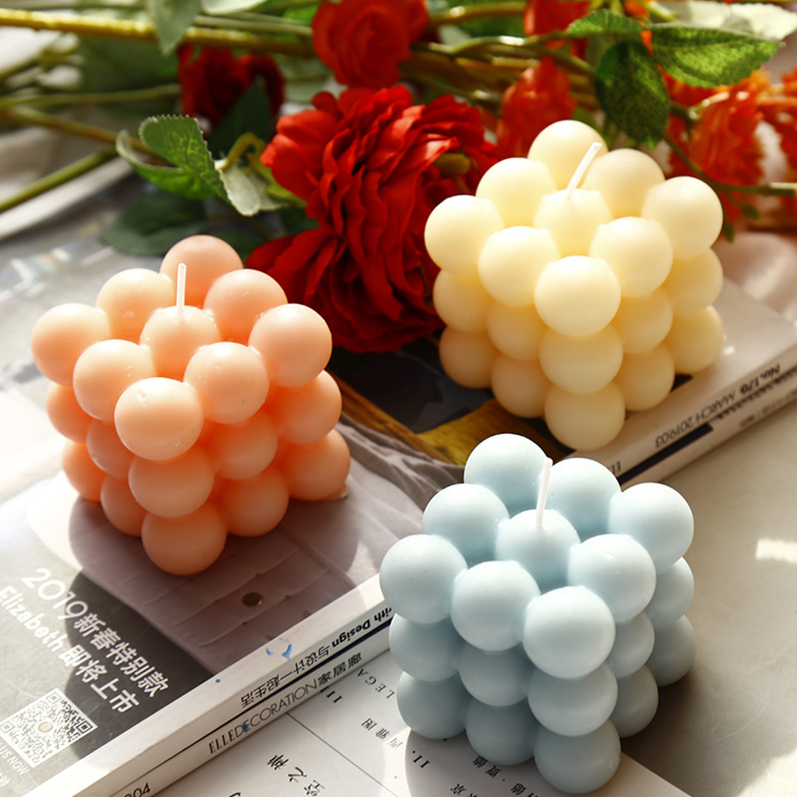 Bubble Cube Candle Soy Wax Aromatherapy Scented Candles Rose Vanilla Cream Campanula Freesia Fragrance Decorative Candle