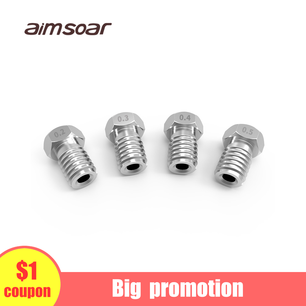 Stainless Steel E3d Nozzle 3d Printer Parts 0.2mm 0.3mm 0.4mm 0.5mm V5 V6 M6 Threaded 3d Nozzle For 1.75mm Filament