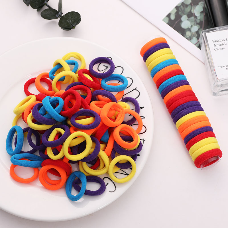 100pcs/Lot 3cm Girls Colorful Basic Nylon Soft Elastic Hair Bands Tie Gum Scrunchie Ponytail Holder Kid Fashion Hair Accessories
