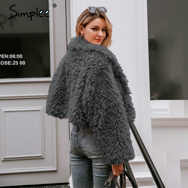 Image 4 - Simplee Casual long sleeve warm loose overcoats women 2019 Autumn  winter female fake fur coat Ladies elegant solid lapel outwearFaux  Fur