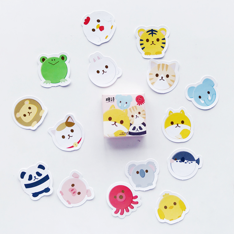 45pcs/pack Cute Panda Tiger Mini DIY Decorative Stickers Decor Stick Label