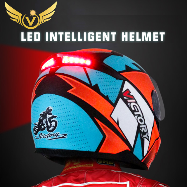 Smart Moto rcycle Helm LED licht Professionelle Volle Gesicht casco moto Racing Helm DOT Off Road Moto cross Helm Accessrioes