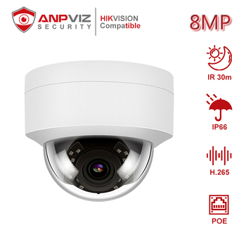 Anpviz(HiKvision Compatible)  IPC-D280W-S 4K 8MP POE Dome IP Camera Built in Microphone Outdoor Security ONVIF IR 30m H.265 hikvision ds 2cd3135f i chinese version h 265 3mp dome ip camera ir 30m support onvif poe security camera