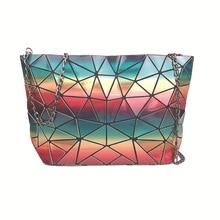 2020 New Rainbow Women's Handbags 5D Colorful Irregular Geometric Female Bag Flower Pattern Purse Metal Chain Crossbody Bags