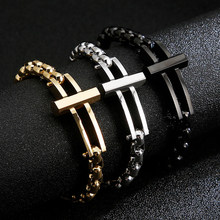 Vintage Stainless Steel Cross Link Chains Bracelet Gold Silver Color Hiphop Biker Pearl Chain Bracelet for Women Men Jewelry(China)