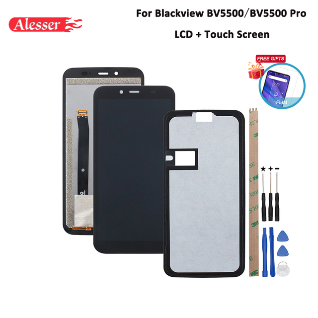 Alesser For Blackview BV5500 LCD Display and Touch Screen Assembly  For Blackview BV5500 Pro Phone Accessories +Tools+Tape +Film