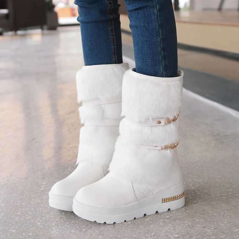 Women/'s Snow Boots Lady Platform Fur Lined Mid-Calf Slip On Shoes Winter Warm