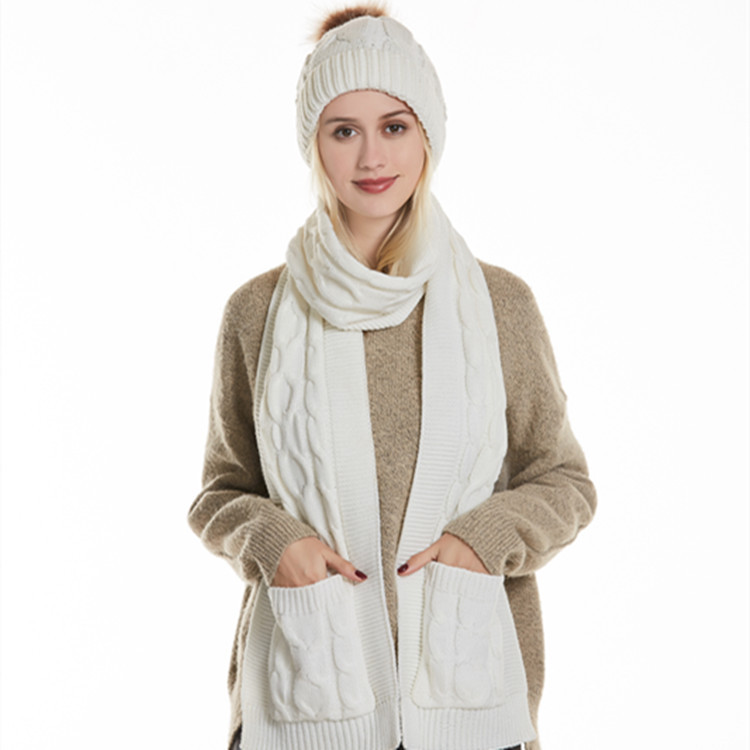 Female Pure Color Warm Suits New Fashion Autumn Winter All-matched Thick Knitted Hairball Soft Elastic Temperament Hat Scarf Set