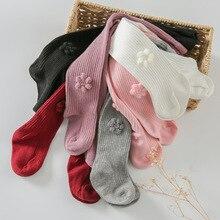 Цельные Носки для маленьких девочек Однотонные Плотные хлопковые теплые мягкие носки для новорожденных с вертикальными полосками и пуговицами носки-Тапочки