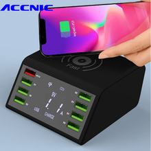 Multi 8 Port Wireless USB Charger 60W LED Display Quick Charge Fast Charging Station For iPhone 7 8 XR Samsung S8 S9 S10 Huawei