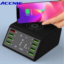 Çoklu 8 Port Kablosuz USB şarj aleti 60W LED Ekran Hızlı Şarj Için Hızlı Şarj İstasyonu iPhone 7 8 XR Samsung s8 S9 S10 Huawei