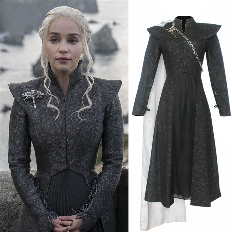 Game of Thrones Season 7 Daenerys Targaryen Cosplay Costume Adult Female Mother of Dragons Halloween Dress Suit for Party(China)