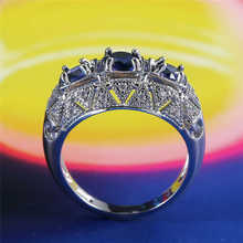 New blue elegant womens ring creative openwork carved with zirconium  size 6-10