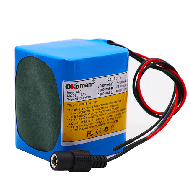 capacity battery pack 12V 6000mAh 18650 lithium ion rechargeable battery 6Ah DC12.6V portable battery pack with BMS