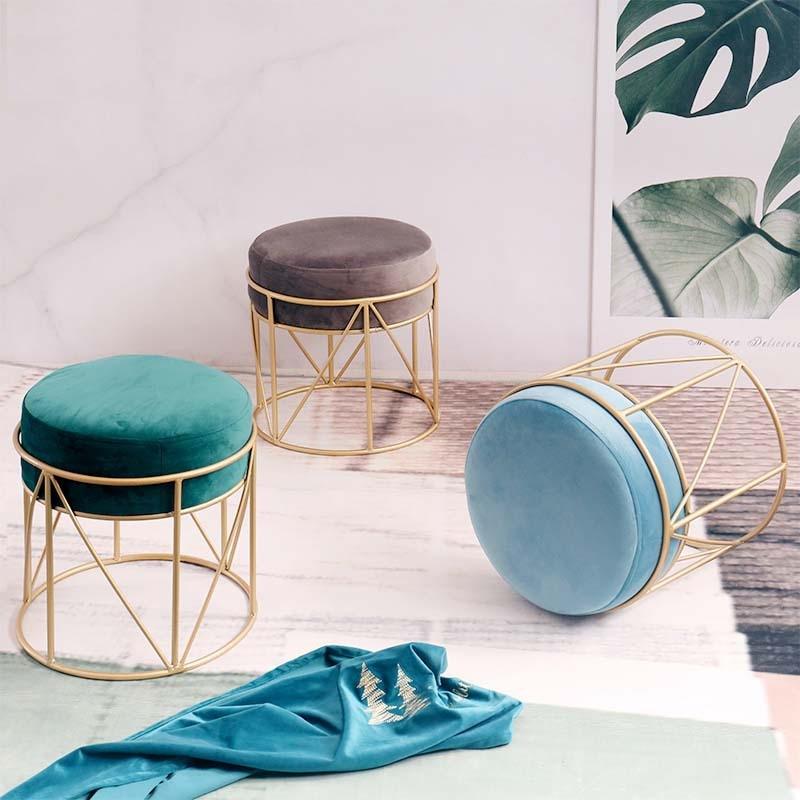Nordic Household Round Short Stool Simple Fashion Nail Makeup Stool Living Room Creative Leisure Iron Stool