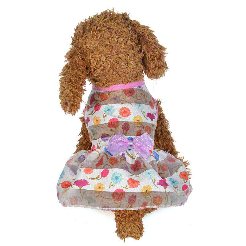 Hot Pet Dress Dog Clothes Apparel Bowknot Costume Skirt Clothing Apparel New