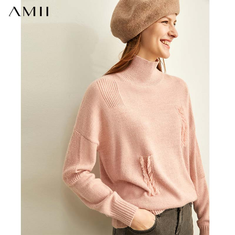 Amii  Slouchy Soft Milk Blue Sweater Women's New Loose Half High Collar Burr Pullover In 2019 Winter 11970446