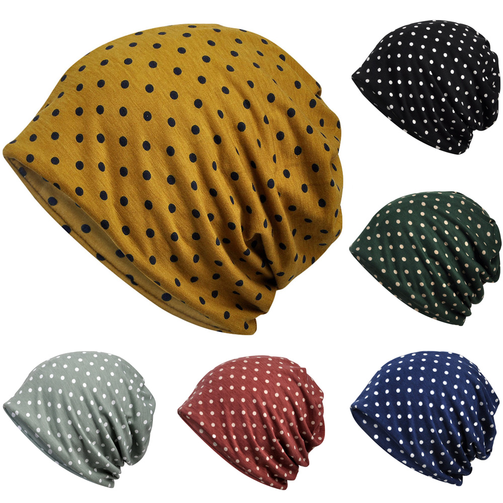 Multi-Use Neck Scarf Hats Cute Polka Dots Print Slouchy Beanie Caps Turban Hat RXHAT0039