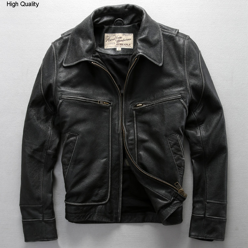 Fly Real Leather Jacket Men David Backham Style Turn Down Collar Skin Wind Jacket Men's Leather Coat Motorcycle Jackets