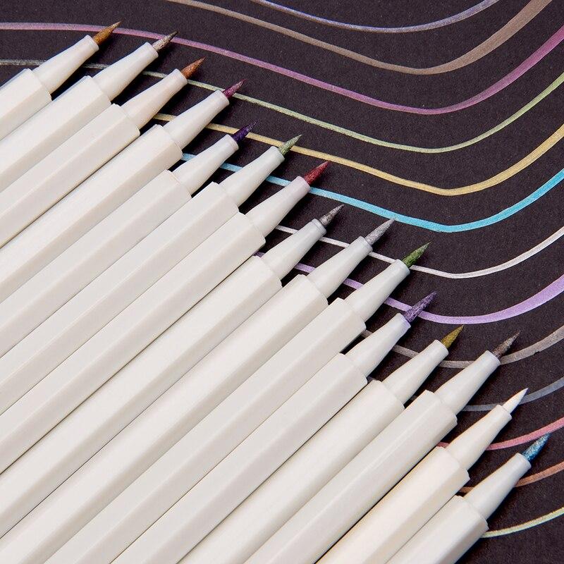 15/20/30 Colors Metallic Marker Pen Soft Art Marker Brush Pen Set DIY Scrapbooking Crafts For Stationery Drawing Design Supplies
