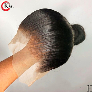 KUNGANG 13*6 Natural Straight Middle Part Lace Front Human Hair Wigs With Baby Hair 250 Density Medium Ratio Non-Remy Wig