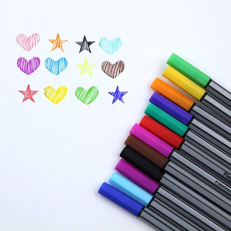 12 цветов микрон Лайнер Маркер ручки 0,38 мм Fineliner цветная ручка Ассорти чернил на водной основе для живописи школы офисные товары для рукодели...