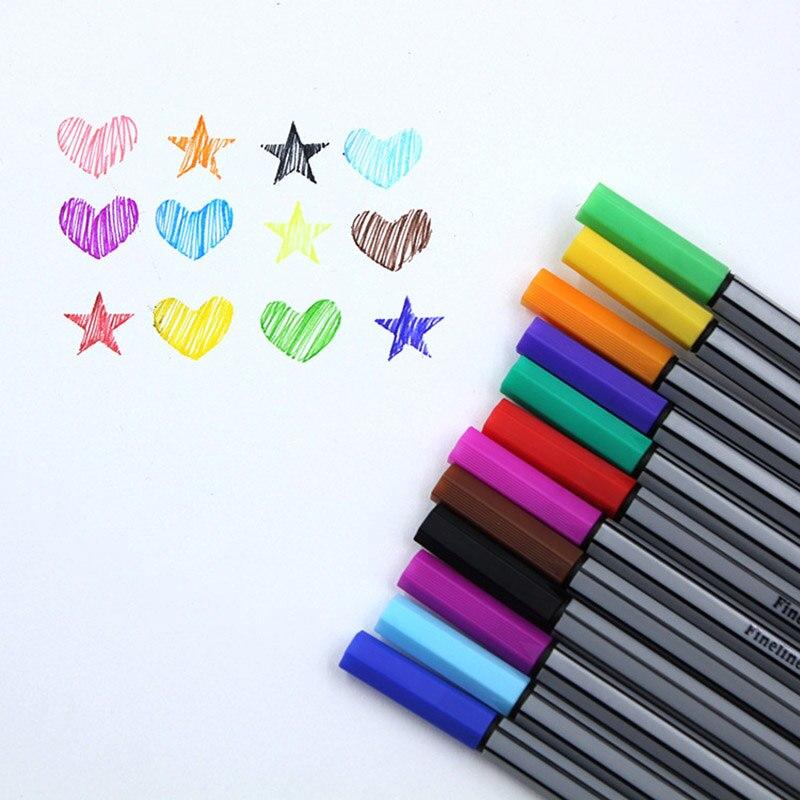 Tinta sortidas à base de água da pena da cor das canetas 0.38mm fineliner do marcador do forro do mícron 12 cores para pintar a arte do escritório da escola suprimentos