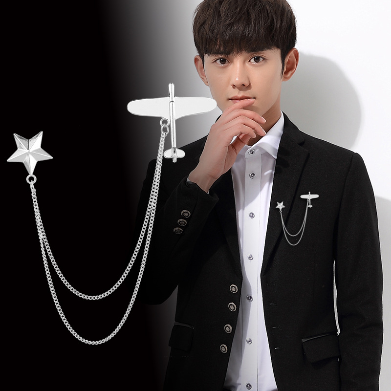 New Korean Fashion Metal Airplane Brooch Star Tassel Chain Lapel Pin Men's Suit Corsage Collar Pins Badge Jewelry Accessories image