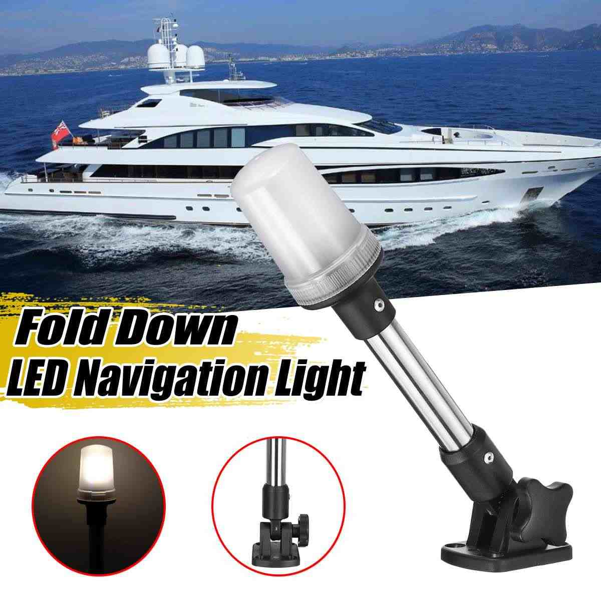 Pactrade Marine Boat Pontoon All Around LED Fixed Mount Navigation Light 12 VDC