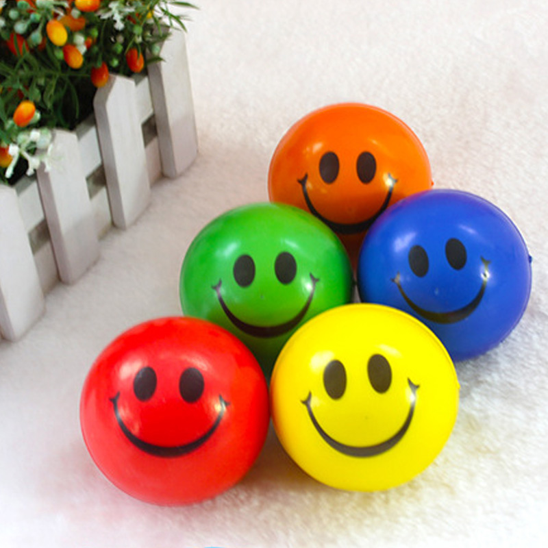 Smile Face Print Sponge Foam Squeeze Stress Ball Relief Yoga Gym Fitness Toy Hand Wrist Exercise PU Rubber Toy Balls  Hot Sales