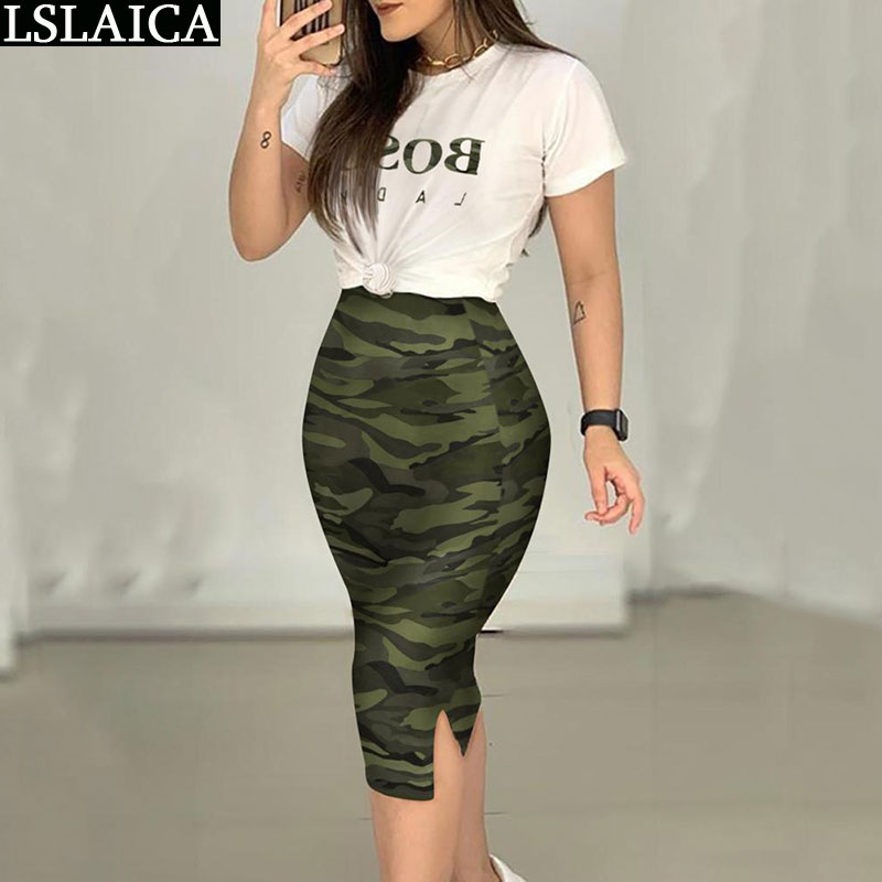 Set Women White Letter t Shirt&Camouflage Skirt Summer 2 Piece Set Casual