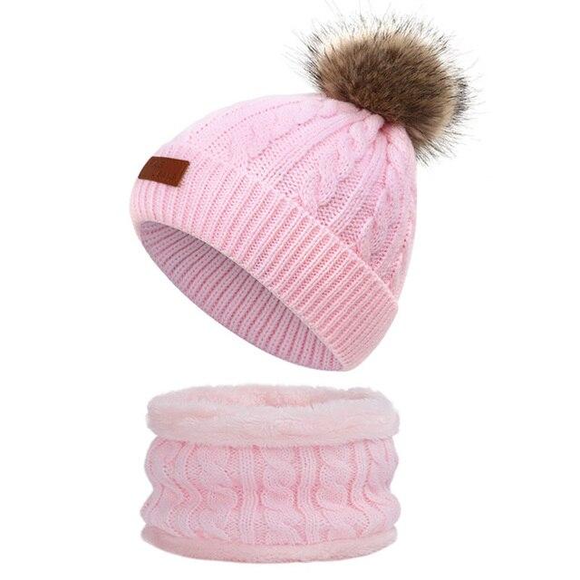 Girls Caps Warm Spring Autumn Children/'s Velvet Pom Poms Cotton Beanie Headwears